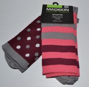 MADISON SPORTIVE LONG SOCKS. 2 PACK. DOTS/BURGUNDY