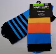 MADISON SPORTIVE MID SOCKS 2 PACK. STRIPE/ CYAN BLUE